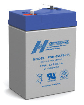 Quality PowerSonic SLA 6v 5.5Ah battery