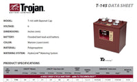 Trojan batteries available Online or In-store. Great prices on our Deep Cycle batteries. T-105, T-125, T-145, T875, T890. Nationwide delivery from batteryworx