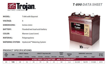 Trojan T890 Deep Cycle battery 8v 190Ah
