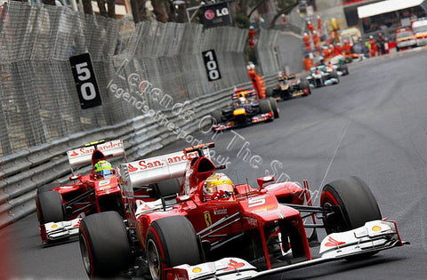 Formula 1 Print - Monaco GP Fernando Alonso leads Massa Ferrari 01 - Legends Of The Sport