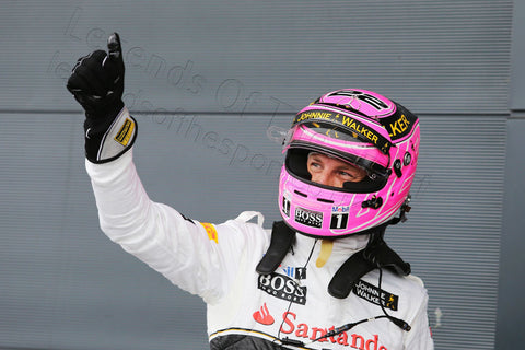 Formula 1 Print - British GP Jenson Button GBR McLaren celebrates 3rd position in qualifying Parc Ferme Saturday 5th July 2014 - Legends Of The Sport