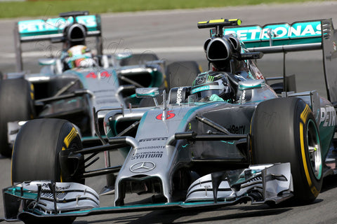 Formula 1 Print - Canadian GP Nico Rosberg GER Mercedes AMG F1-W05 leads team mate Lewis Hamilton GBR Mercedes AMG F1-W05 Sunday 8th June 2014 - Legends Of The Sport