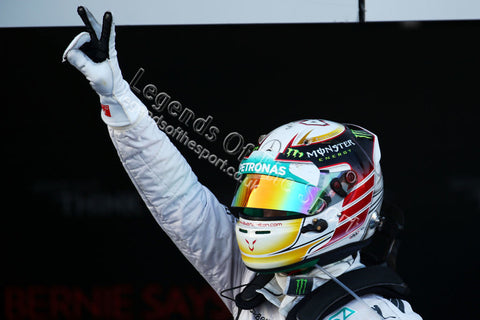 Formula 1 Print - Russian GP Race Winner Lewis Hamilton GBR Mercedes AMG F1 celebrates in parc ferme Sunday 12th October 2014 Sochi Autodrom Sochi - Legends Of The Sport