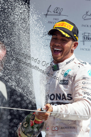 Limited Edition Formula 1 Print - Lewis Hamilton Champagne Silverstone 2015 - Legends Of The Sport