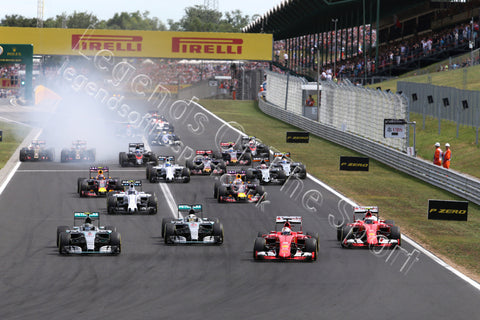 Limited Edition Formula 1 Print - F1 Drivers Start Hungaroring 2015 - Legends Of The Sport