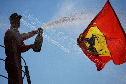 Formula 1 Print - 2015 Italian GP Sebastian Vettel (GER) Ferrari celebrates 2nd position on the podium Sunday 6th September 2015 Monza - Legends Of The Sport