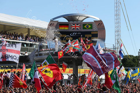 Formula 1 Print - 2015 Italian GP Vettel (GER) Ferrari 2nd & Hamilton (GBR) Mercedes AMG-F1 1st & Massa (BRA) Williams 3rd on Podium 06 09 15 Monza - Legends Of The Sport