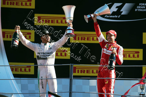 Formula 1 Print - 2015 Italian GP Winner Lewis Hamilton (GBR) Mercedes AMG-F1 celebrates with 2nd place Sebastian Vettel (GER) Ferrari podium Monza - Legends Of The Sport