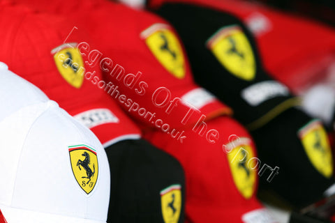Formula 1 Print - 2015 Japanese GP Ferrari caps on sale at the Japanese Grand Prix on Qualifying Day Saturday 26th September 2015 - Legends Of The Sport