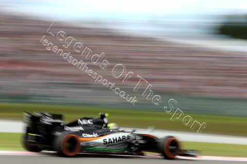 Formula 1 Print - 2015 Japanese GP Sergio Perez (MEX) racing his Sahara Force India F1 VJM08 Japanese Grand Prix during qualifying Saturday 26th September 2015 - Legends Of The Sport