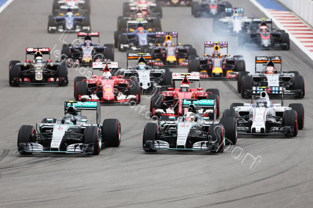 Formula 1 Print - 2015 Russian GP Nico Rosberg (GER) teamate Lewis Hamilton (GBR) both Mercedes AMG F1-W06 start of Grand Prix on Sunday 11th October - Legends Of The Sport