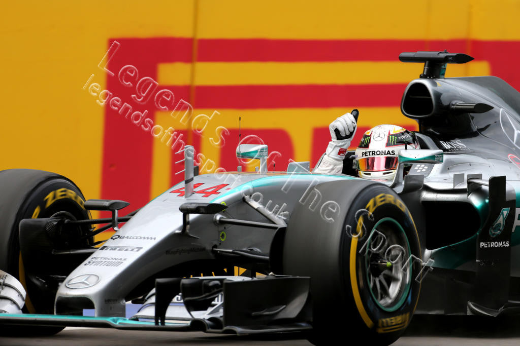 Formula 1 Print - 2015 Russian GP Race Winner Lewis Hamilton (GBR) in his Mercedes AMG F1-W06 celebrates at end of race on Sun 11th Oct 2015 in Sochi - Legends Of The Sport
