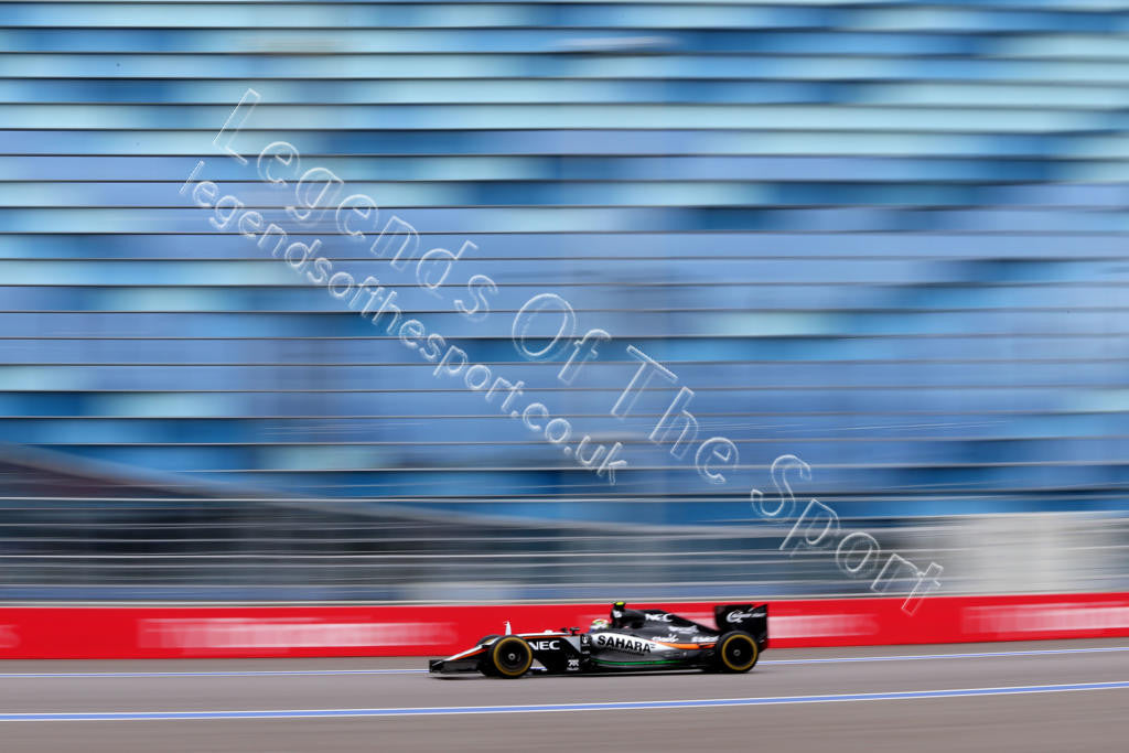 Formula 1 Print - 2015 Russian GP Sergio Perez (MEX) racing his Sahara Force India F1 VJM08 on Sunday 11th October 2015 - Legends Of The Sport