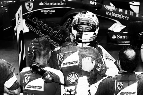 Formula 1 Print - 2015 Singapore GP Race Winner Sebastian Vettel (GER) Ferrari celebrates with team in parc ferme Sun 20 09 Marina Bay - Legends Of The Sport