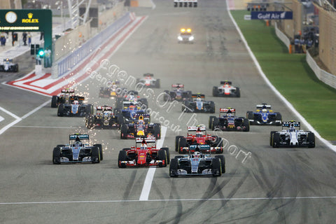 Formula 1 Print - Bahrain GP Lewis Hamilton GBR Mercedes AMG F1 W06 leads at the start of the race Sunday 19th April 2015 Sakhir Bahrain - Legends Of The Sport