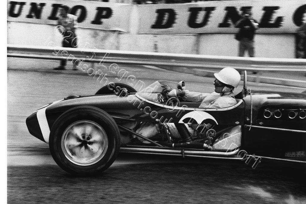 Formula 1 Print 1961 - Stirling Moss racing a Lotus-Climax 18 at the 1961 Monaco Grand Prix, Monte Carlo - Legends Of The Sport