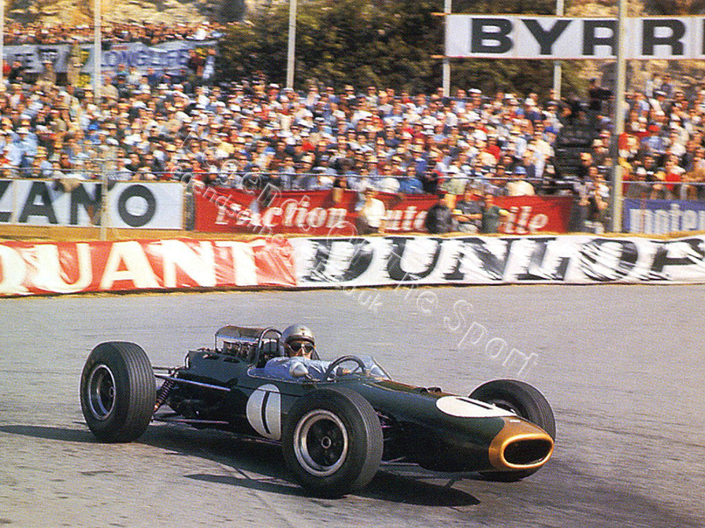 Formula 1 Print 1965 - Jack Brabham racing a Brabham-Climax BT11 at 1965 Monaco Grand Prix in Monte Carlo - Legends Of The Sport