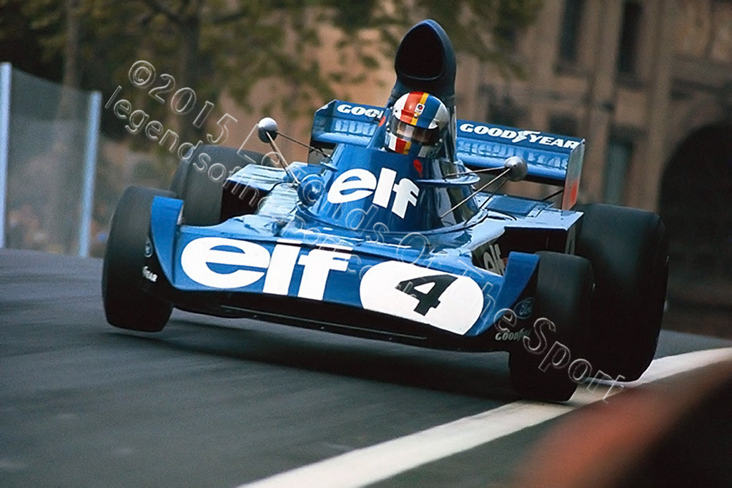Formula 1 Print 1973 - Francois Cevert racing his Tyrell-Ford 006 at the 1973 Spanish Grand Prix at Monjuic Park 1973 - Legends Of The Sport