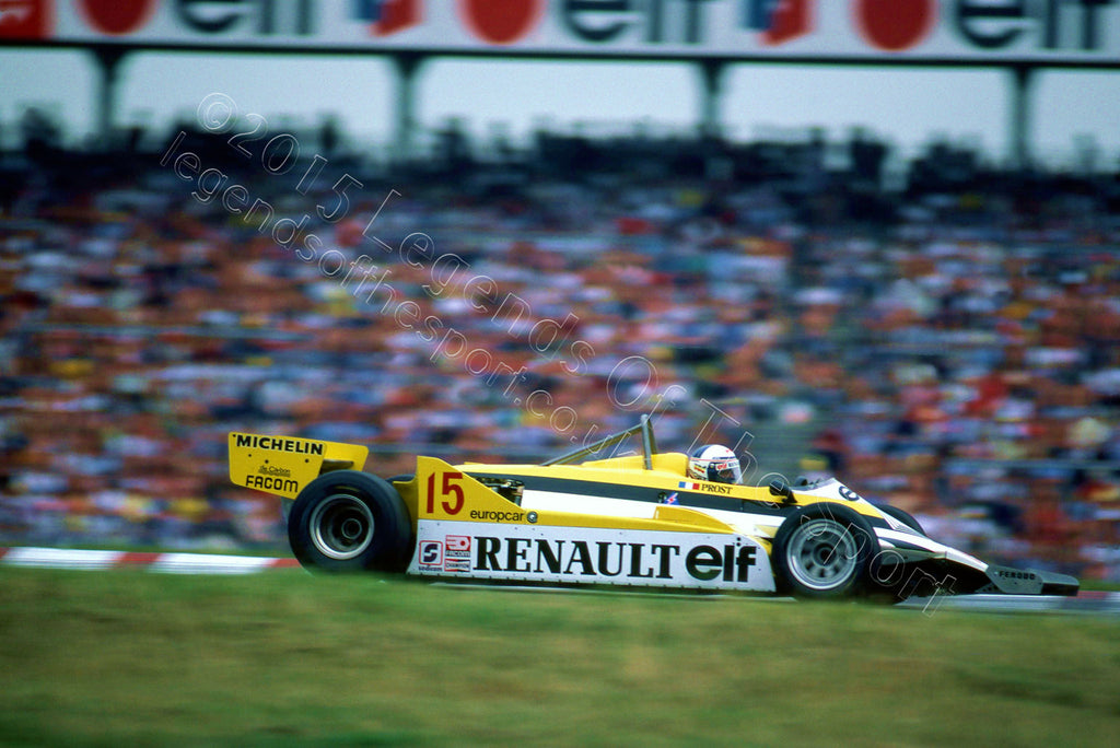 Formula 1 Print 1981 - Alain Prost racing his Team Elf Renault RE30 at the 1981 German Grand Prix at Hockenheim, Germany - Legends Of The Sport