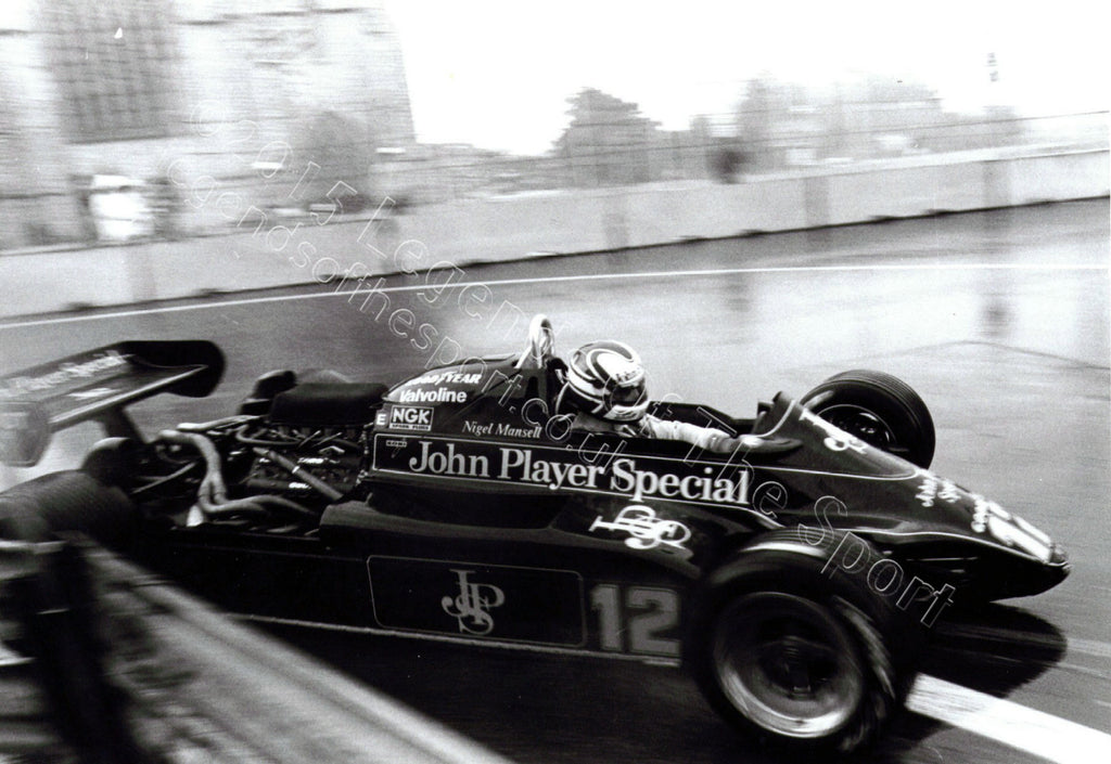 Formula 1 Print 1982 - Nigel Mansell racing his Lotus-Ford 91 Cosworth DFV at the 1982 United States Grand Prix in Las Vegas, Nevada - Legends Of The Sport
