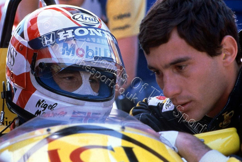 Formula 1 Print 1986 - Ayrton Senna offers advice or caution to Nigel Mansell at the 1986 Canadian Grand Prix in Montreal - Legends Of The Sport