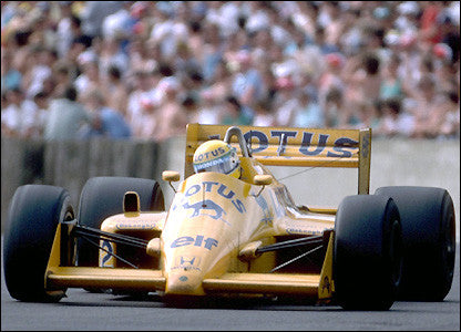 Formula 1 Print 1987 - Ayrton Senna driving his Lotus-Honda 99T at the 1987 Mexican Grand Prix in Mexico City - Legends Of The Sport