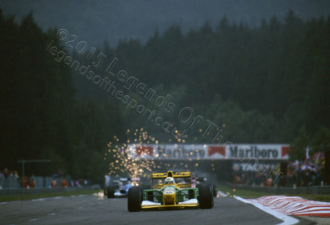 Formula 1 Print 1992 - Martin Brundle racing his Benetton-Ford B192 at the 1992 Belgian Grand Prix at Spa-Francorchamps, Belgium - Legends Of The Sport