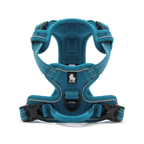 PetsUp 3M Reflective Mesh Padded Dog Vest Front Range No Pull Harness with Handle (Blue)