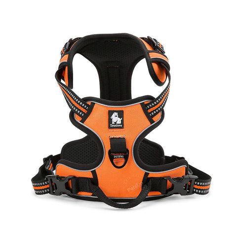 PetsUp 3M Reflective Mesh Padded Dog Vest Front Range No Pull Harness with Handle (Orange)
