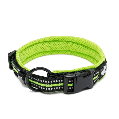 PetsUp Metal Dog Collar Neck Belt for Dogs (Reflective Collars- Green)