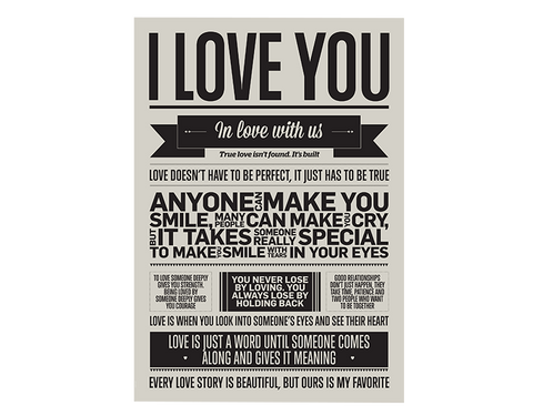 I love my type, plakat,I love you, vægdekoration, A3 ,