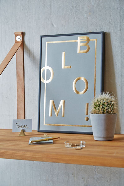I love my type, BLOOM, A3, plakat, guld, grå, real grey