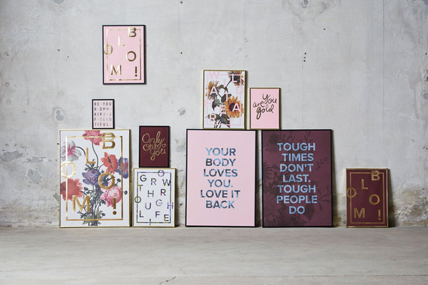 I love my type, BLOOM, A3, plakat, guld, rosa, cany pink