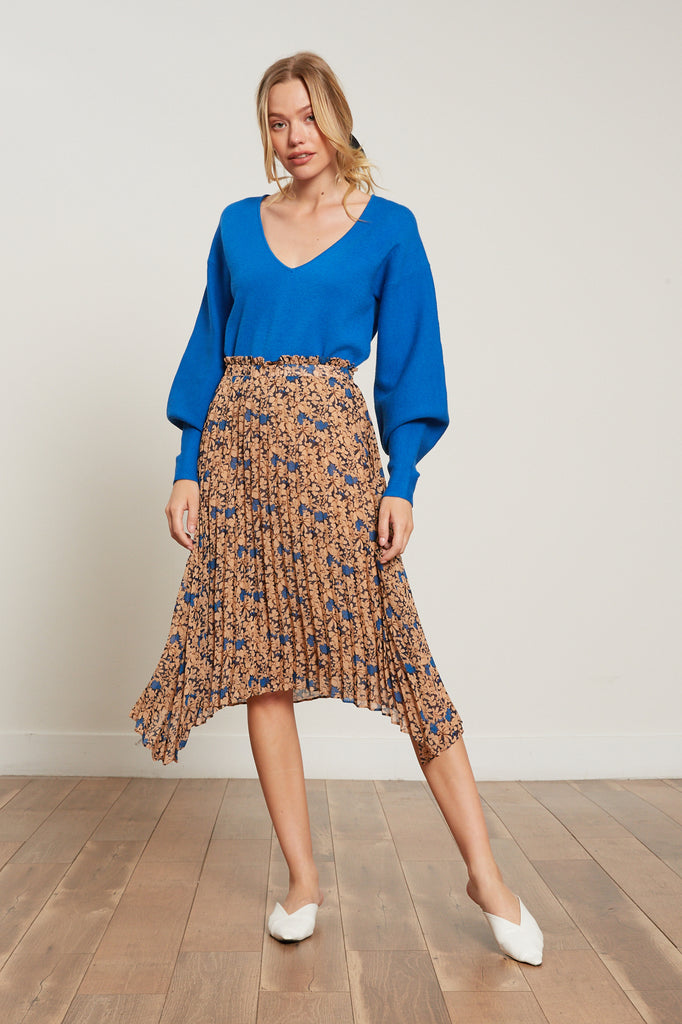 Lucy Paris - Kimberly Pleated Floral Skirt