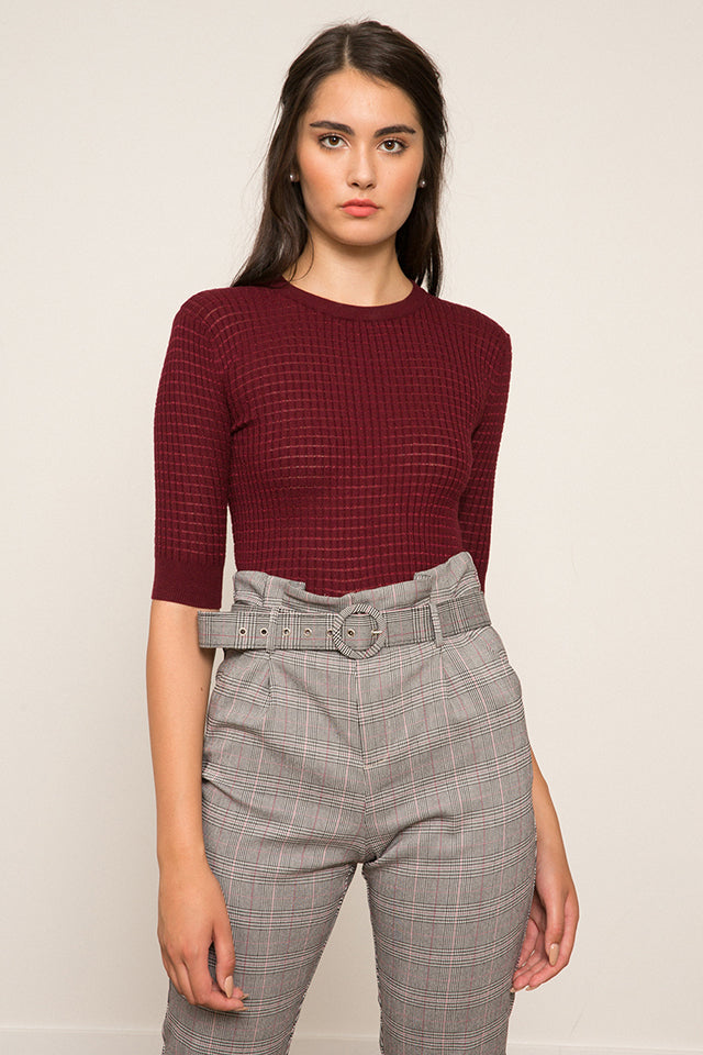 Lucy Paris- Jenna Knit Sweater- Burgundy