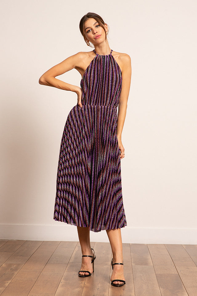Lucy Paris - Christina Halter Pleated Dress