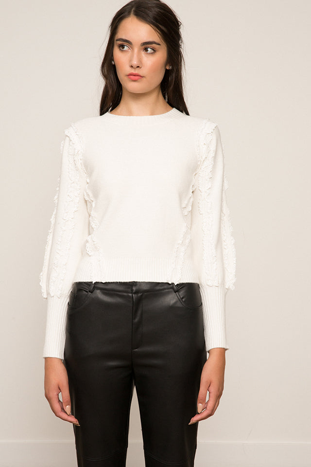 Lucy Paris- Rachel Ruffle Sleeve Sweater