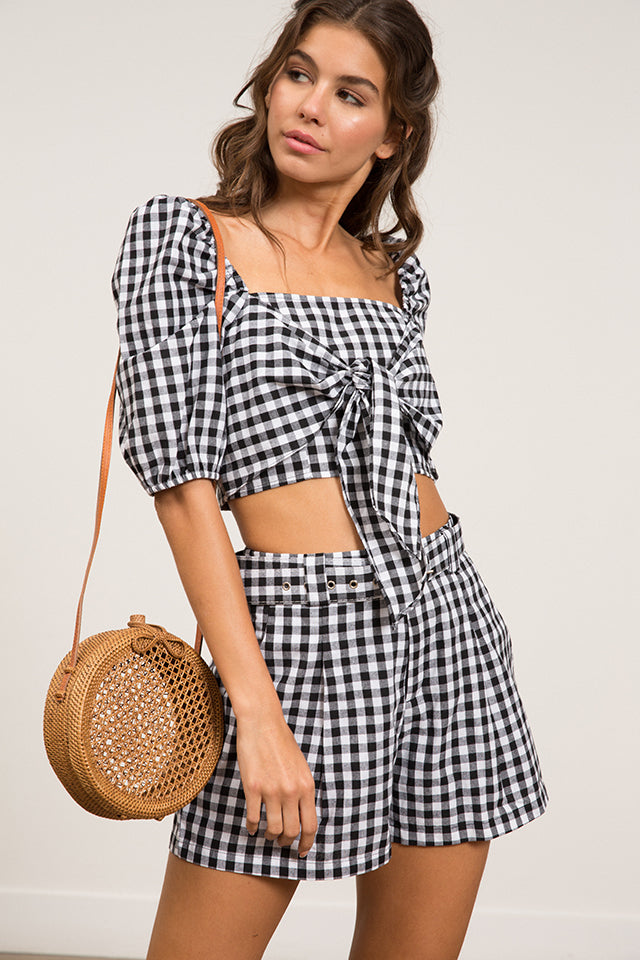 Lucy Paris - Rory Gingham Tie Top