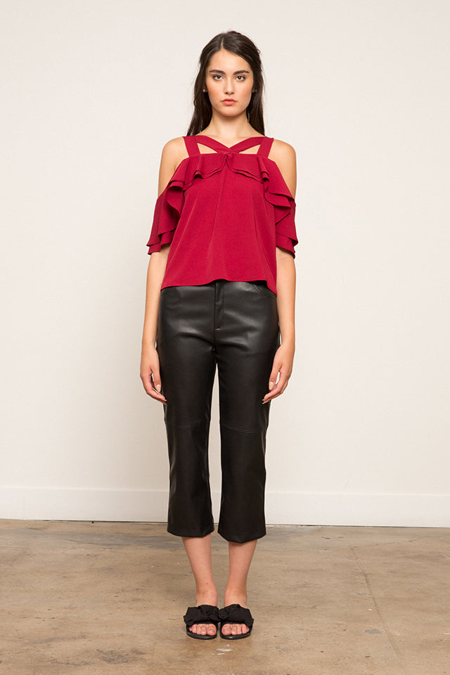 Lucy Paris-Victoria Cross Neck Top - Burgundy