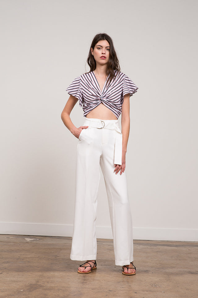 Lucy Paris - Gina Striped Cropped  Cross Front Top