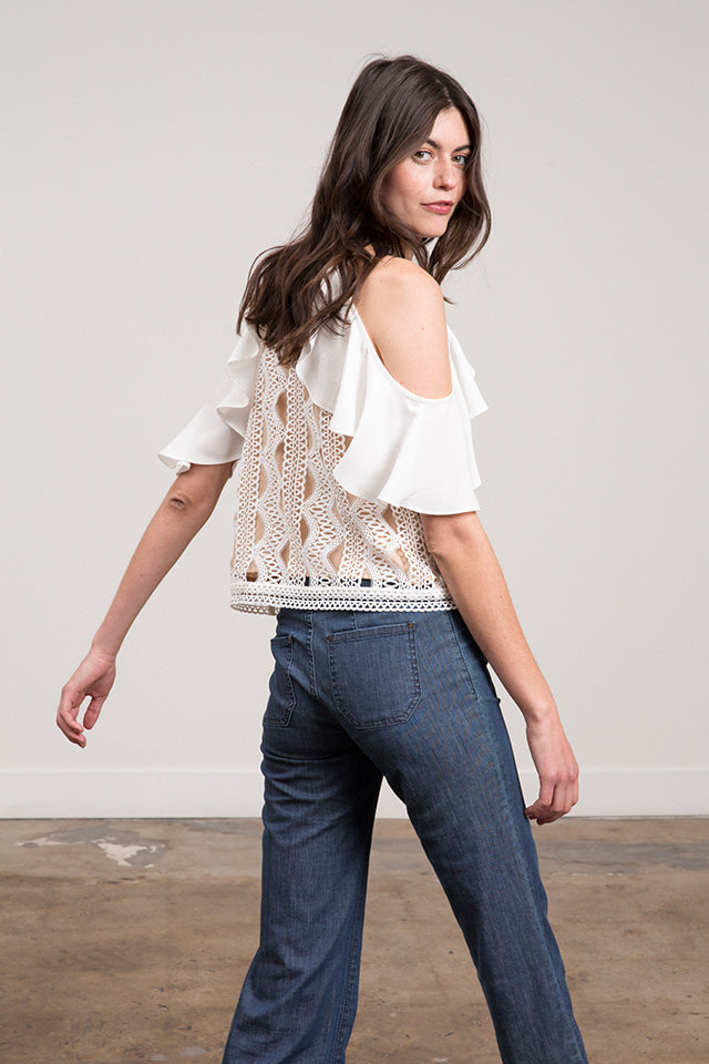 Abigail Cold Shoulder Lace Top