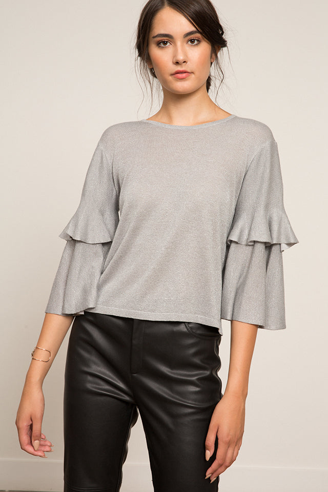Lucy Paris - Alison Ruffle Top - Silver