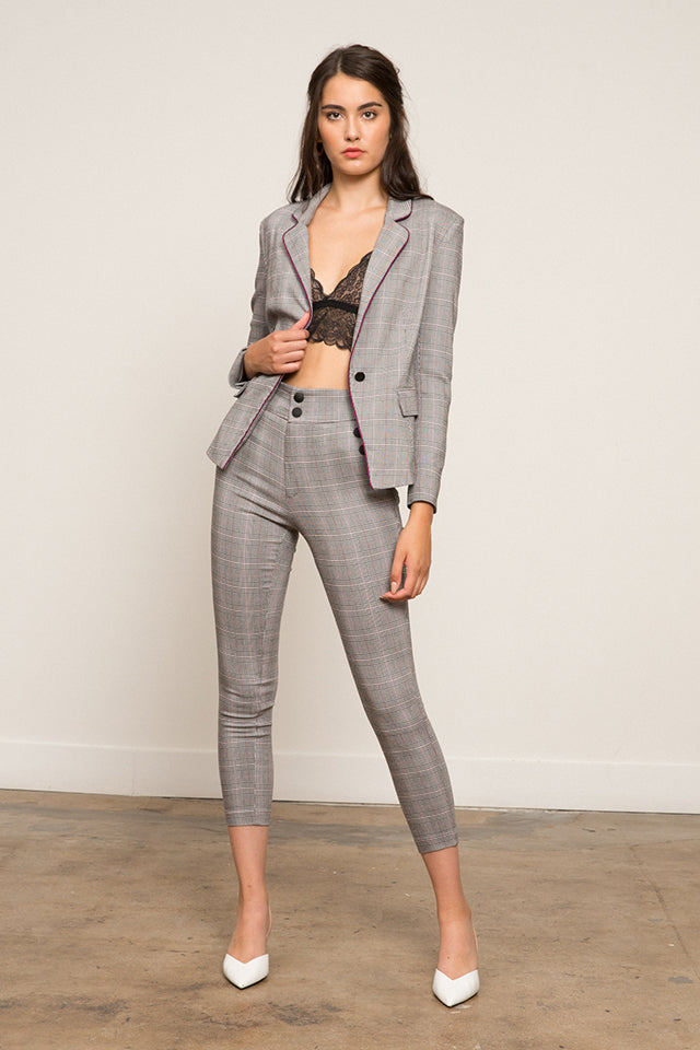 Chantal Stretch Plaid Pant