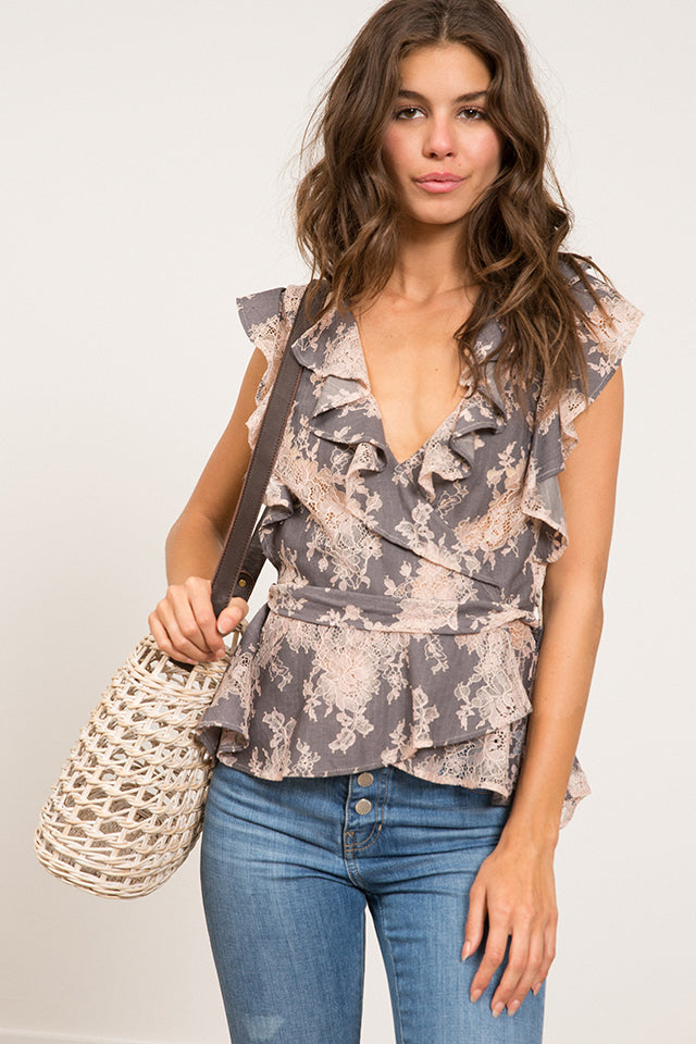 Lucy Paris - Cyra Lace Wrap Top