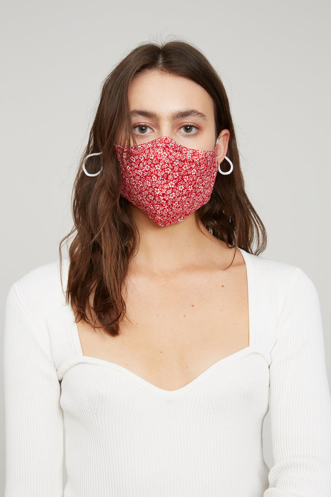 Floral Face Mask - Red