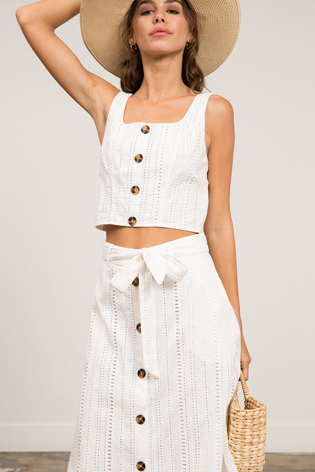 Mila Button Eyelet Tank