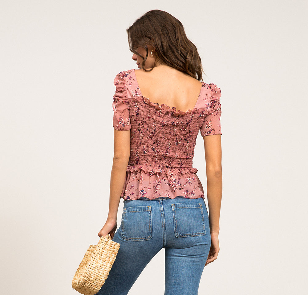 Carly Floral Smocked Top