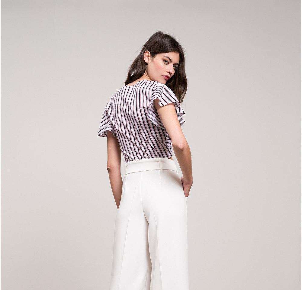 Gina Striped Cropped  Cross Front Top