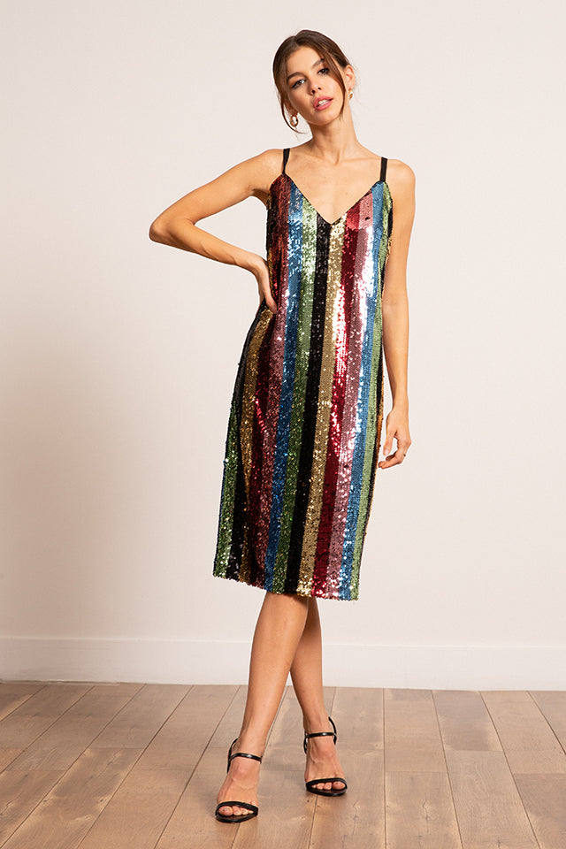 Mariah Multi Striped Sequined Dress