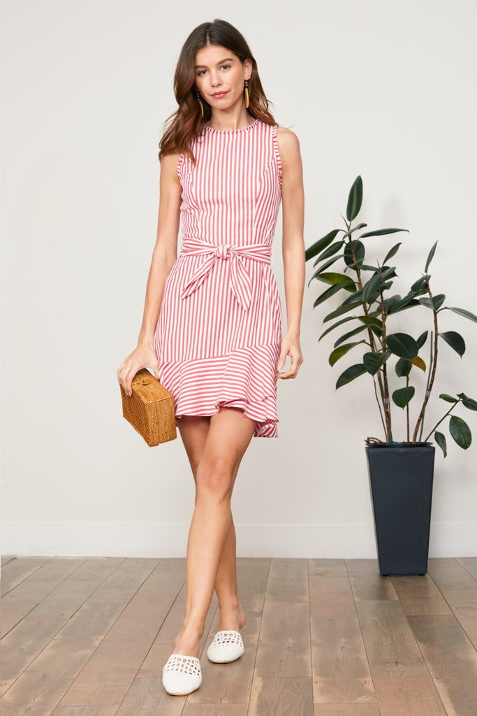 LUCY PARIS - Adeline Striped Knotted Dress